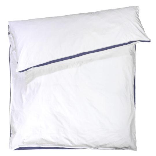 zoeppritz Absolute Bettbezug, Farbe weiss mit blau, Material Baumwolle Perkal in Groesse 200x200