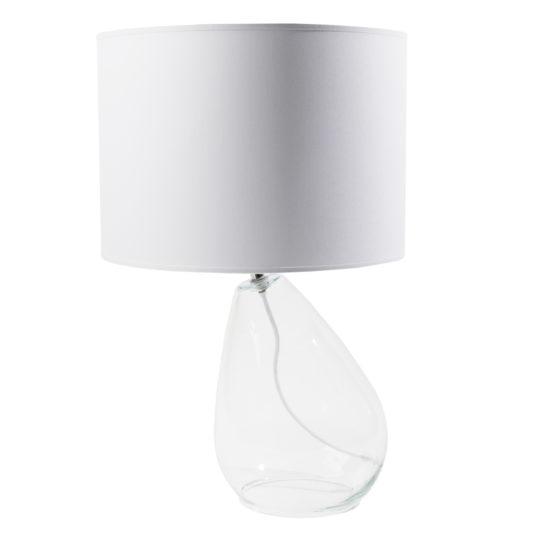 zoeppritz Tischlampe Glas mit Lampenschirm Stoff Drop, weiss