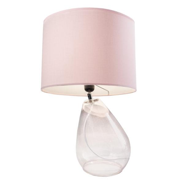 zoeppritz Tischlampe Glas mit Lampenschirm Stoff Drop, rosa
