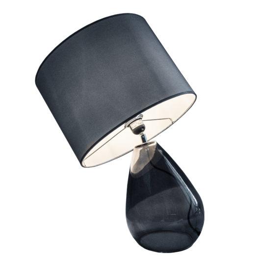 zoeppritz Tischlampe Glas mit Lampenschirm Stoff Drop, grau