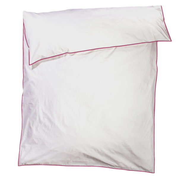 zoeppritz White Bettbezug, Farbe weiss mit rot, Material Baumwolle Perkal in Groesse 200x200