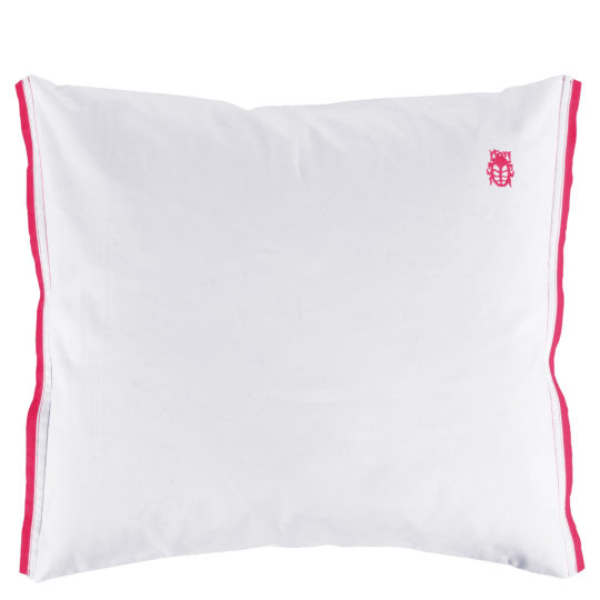 zoeppritz White Kissenbezug, Farbe weiss mit rot, Material Baumwolle Perkal in Groesse 65x65