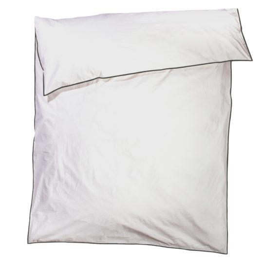 zoeppritz White Bettbezug, Farbe weiss mit schwarz, Material Baumwolle Perkal in Groesse 160x210