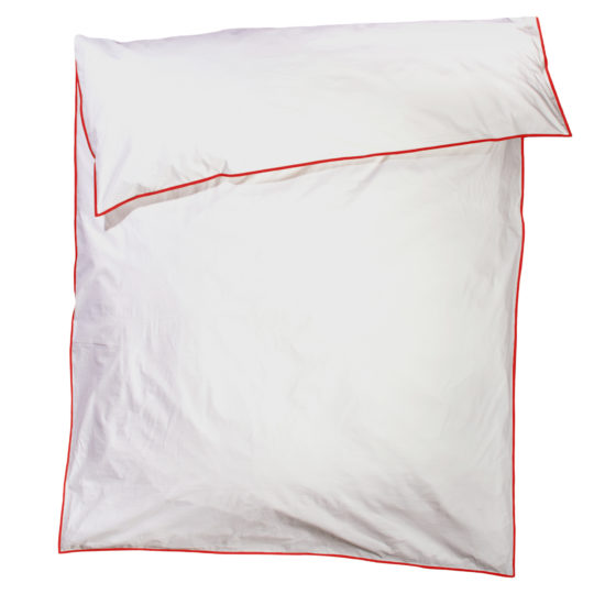 zoeppritz White Bettbezug, Farbe weiss mit rot, Material Baumwolle Perkal in Groesse 220x210