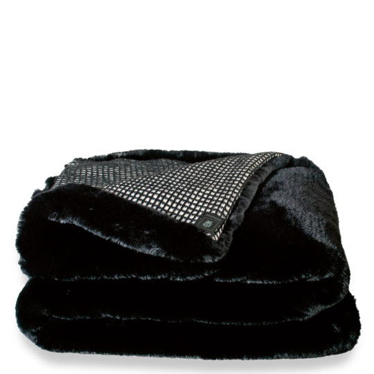 zoeppritz Grizzly Mesh Decke, Farbe schwarz, Material Kunstfell Schurwolle in Groesse 140x190