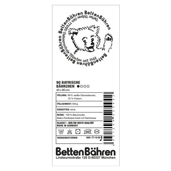 Betten Baehren 90 bayrische Baehrchen Kopfkissen supersoft, Farbe weiss, 90 bayrische Daunen 10 Entenfedern in Groesse 40x80