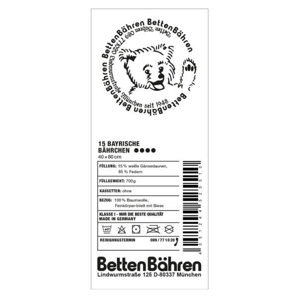 Betten Baehren 15 bayrische Baehrchen Kopfkissen fest, Farbe weiss, 15 bayrische Daunen 85 Entenfedern in Groesse 40x80