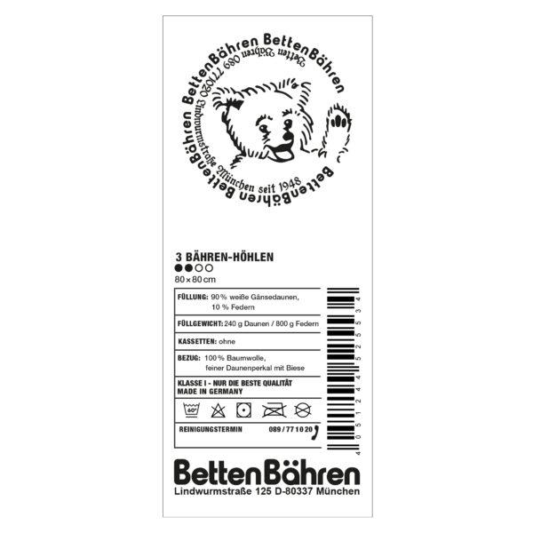 Betten Baehren 3 Baehren Hoehlen Kopfkissen soft mit Kammern, Farbe weiss, 90 bayrische Daunen 10 Entenfedern in Groesse 80x80