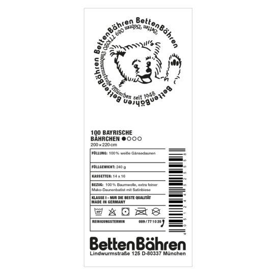 Betten Baehren 100 bayrische Baehrchen Daunen Bettdecke extra-leicht Farbe weiss, in Groesse 200x220
