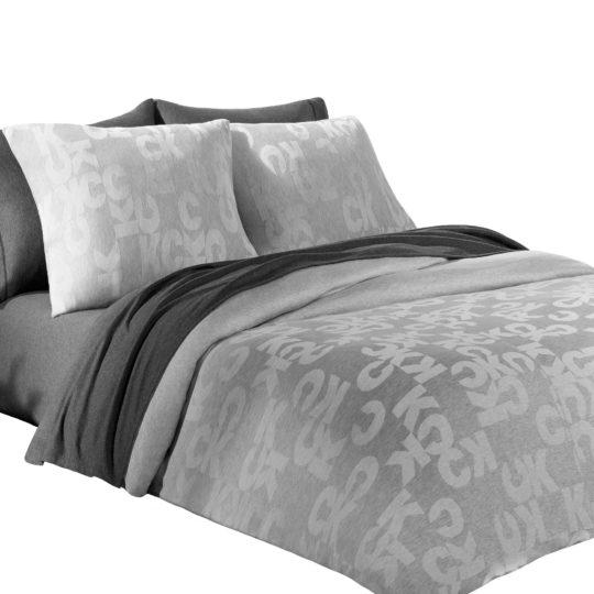 Calvin Klein Home Bettgarnitur Set Bettdecke Kopfkissen MONOGRAM, Material Baumwolle Modal, grau