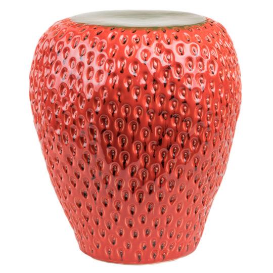 Handgemachter Hocker Strawberry Stool, Material Keramik in Groesse 45x40, rot