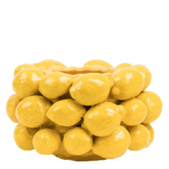 Handgemachte Vase Lemon Vase, Material Keramik in Groesse 15x27, gelb