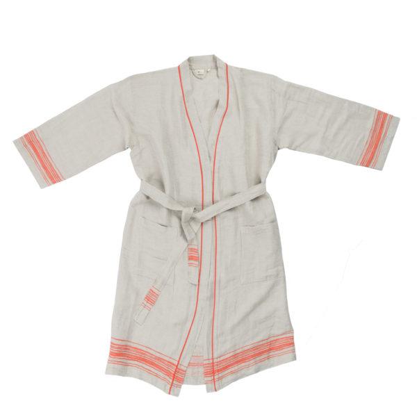 Mantel aus Leinen, Stripy, Material Leinen Baumwolle, orange