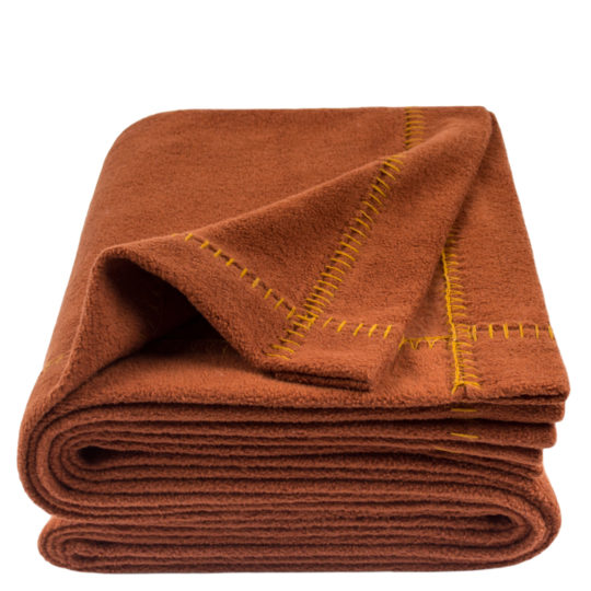 zoeppritz Soft-Greeny weiche Decke, Farbe rostrot, Material GOTS Bio-Baumwolle in Groesse 140x190
