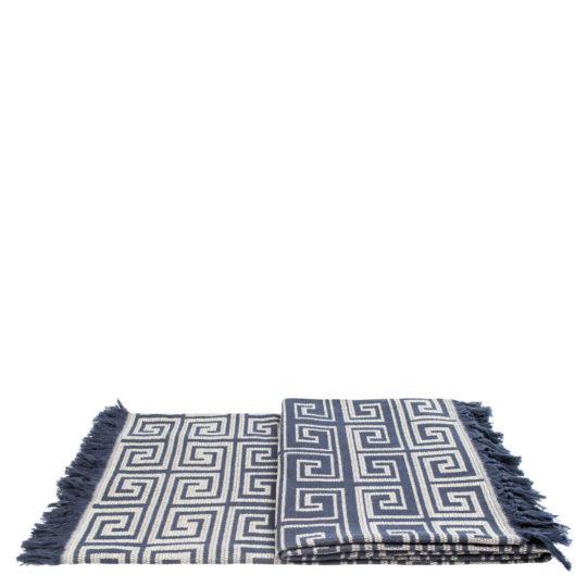 Flauschige Decke 150x200 beige-blau aus Baumwolle, zoeppritz Sunny Leg