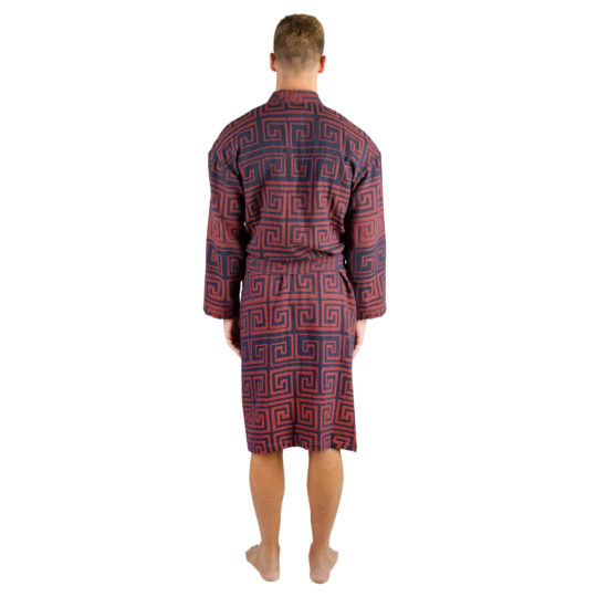 Bademantel fuer Herren und Damen in L-XL, rotorange aus Baumwolle, zoeppritz Sunny Leg
