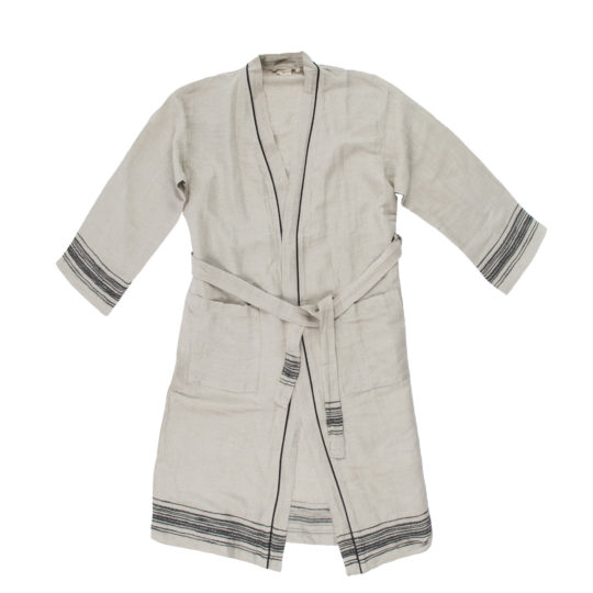 Coat for women and men in S-M, black, linen and cotton, zoeppritz Stripy