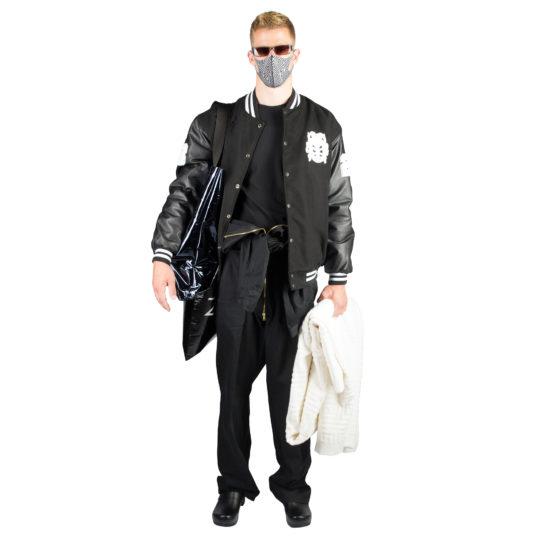 College Jacke fuer Maenner schwarz, XXL aus Polyester, zoeppritz Cheer