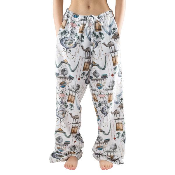 Schlafanzughose fuer Herren und Damen aus Baumwolle, weiss mit Muster in L-XL, zoeppritz Centuries Trousers