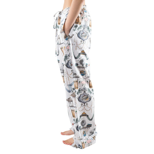 Pyjama trousers for women and men in white with pattern, cotton in s-m, zoeppritz Centuries Bathrobe