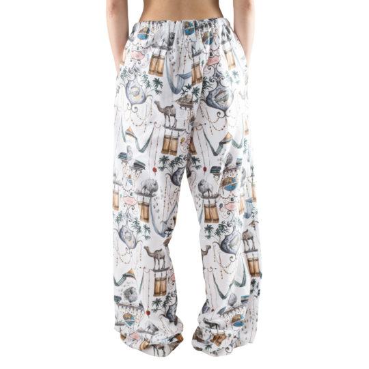 Schlafanzughose fuer Damen und Herren aus Baumwolle, weiss mit Muster in S-M, zoeppritz Centuries Trousers