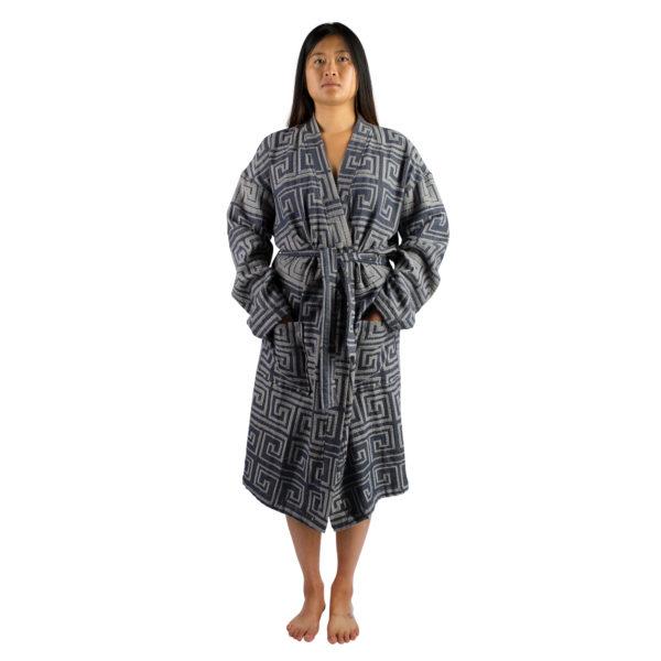 Bademantel fuer Herren und Damen in L-XL, beige-blau aus Baumwolle, zoeppritz Sunny Leg