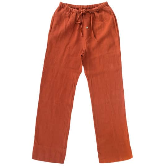 Sommerhose fuer Herren und Damen in L-XL, orange aus Leinen, zoeppritz Stay