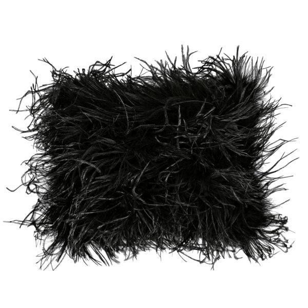 Kissenbezug 30x40cm in schwarz, flauschig mit Straussenfedern, zoeppritz Tweet