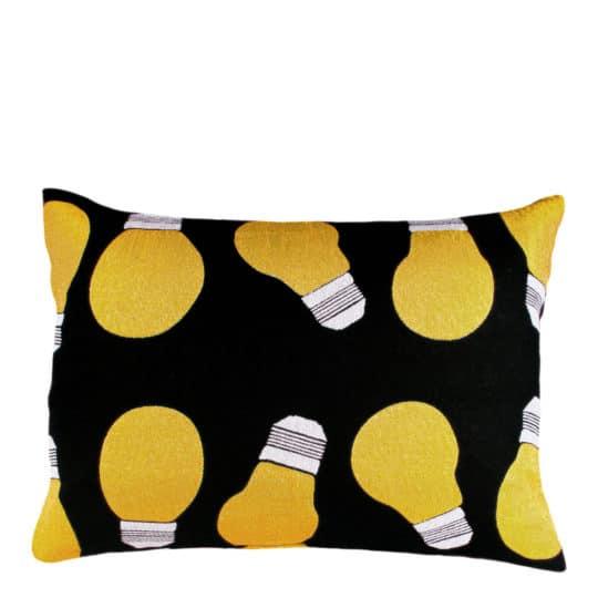 Cushion cover with lightbulb print in 30x50cm, black, zoeppritz bulb