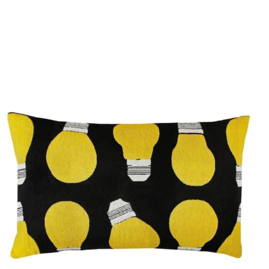 Cushion cover with lightbulb print in 50x70cm, black, zoeppritz bulb