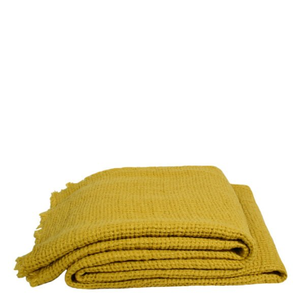 honeybee zoeppritz leinen decke 170x230 curry gelb