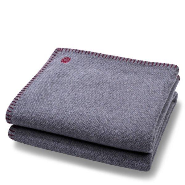 must stitch zoeppritz schurwolle decke 150x200 wein rot