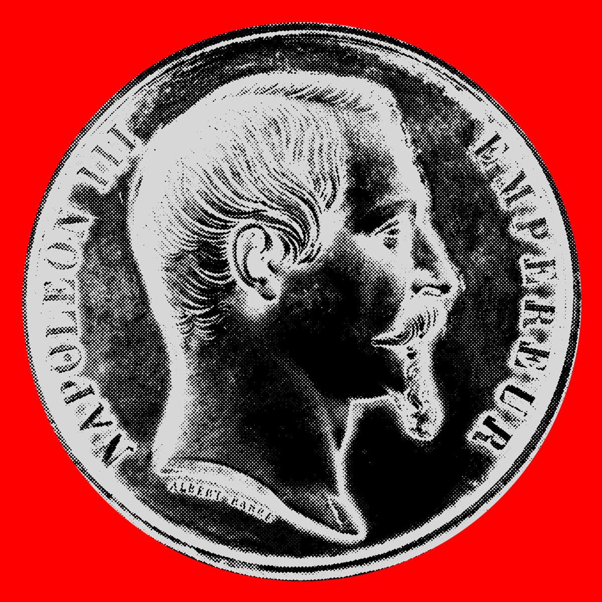 Medaille mit dem Konterfait von Napoleon III, die als besondere Auszeichnung für die Weltausstellung vergeben wurde.