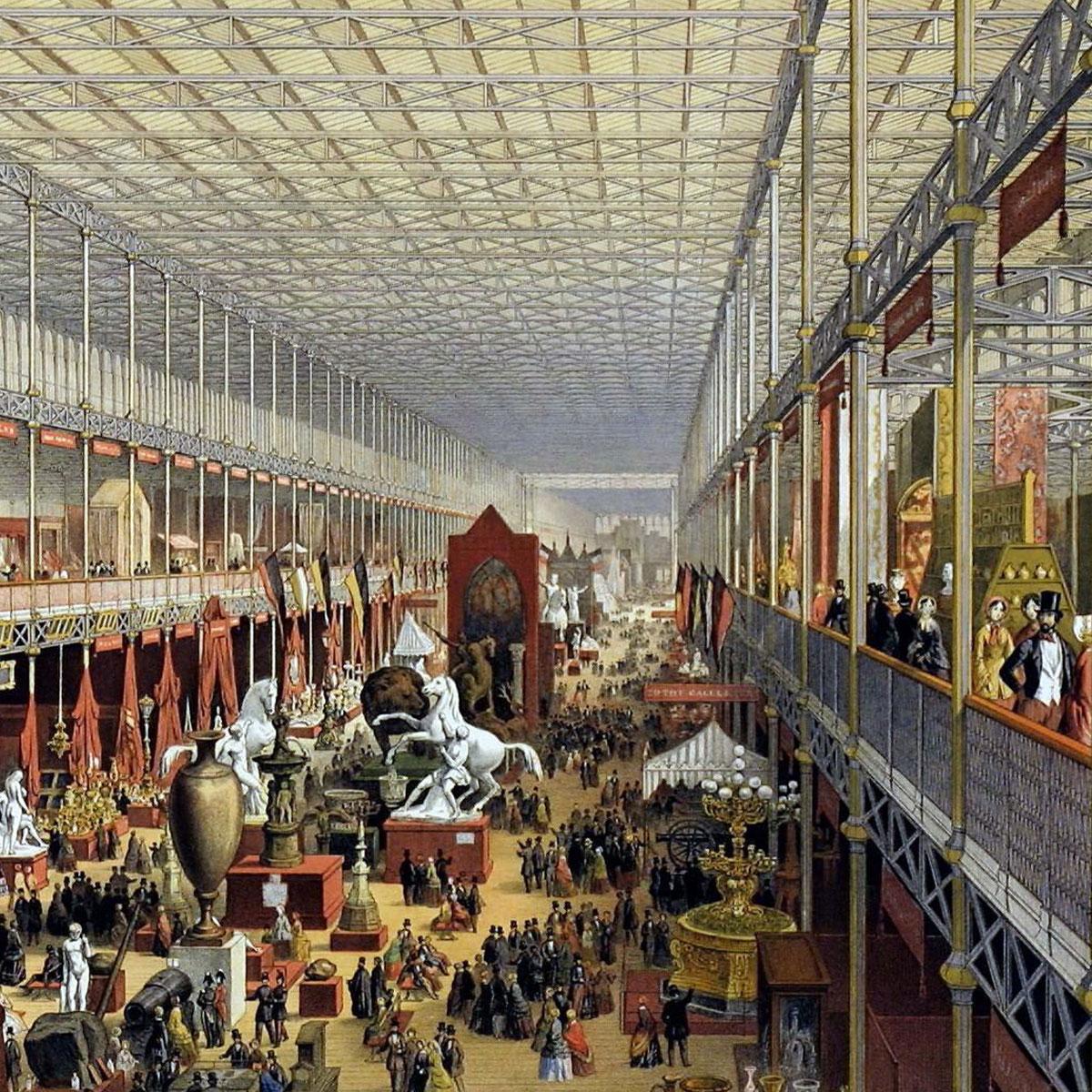 gemalte Szenerie der Weltausstellung, die das bunte Treiben zeigt.