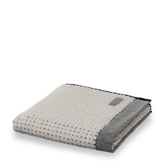 eden kaestchenstruktur baumwolle leinen handtuch duschtuch 80x150 moeve grey natur