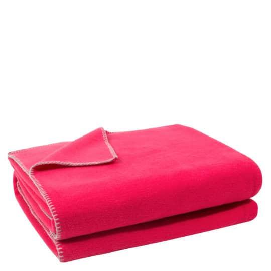 Flauschige Decke fuer Sofa und Couch, dunkles pink in 160x200cm