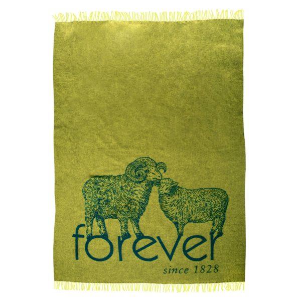 zoeppritz bah forever Decke, Zitronengelb Gruen, Material Schurwolle in Groesse 145x230