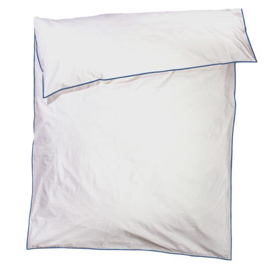 zoeppritz White Bettbezug, Farbe weiss mit blau, Material Baumwolle Perkal in Groesse 135x200
