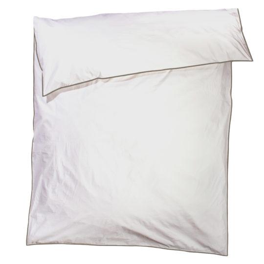 zoeppritz White Bettbezug, Farbe weiss mit braun, Material Baumwolle Perkal in Groesse 135x200