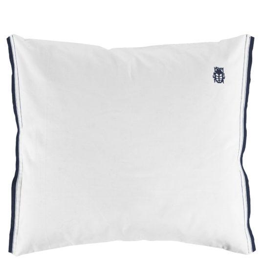 zoeppritz White Kissenbezug, Farbe weiss mit blau, Material Baumwolle Perkal in Groesse 70x90