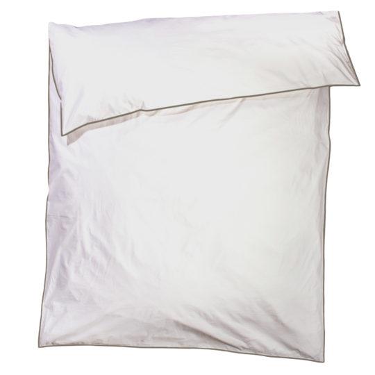 zoeppritz White Bettbezug, Farbe weiss mit braun, Material Baumwolle Perkal in Groesse 160x210