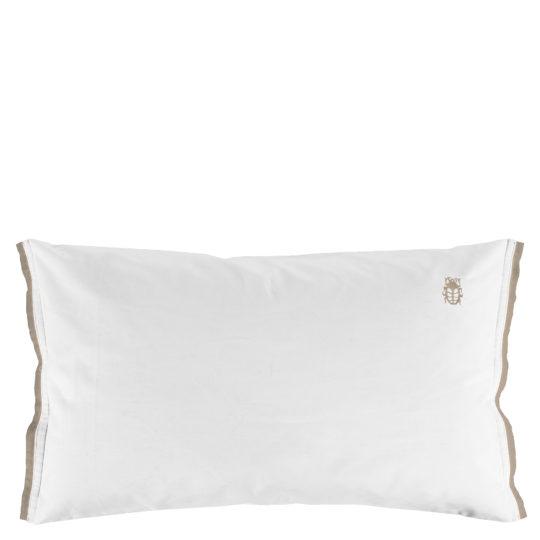 zoeppritz White Kissenbezug, Farbe weiss mit braun, Material Baumwolle Perkal in Groesse 60x90