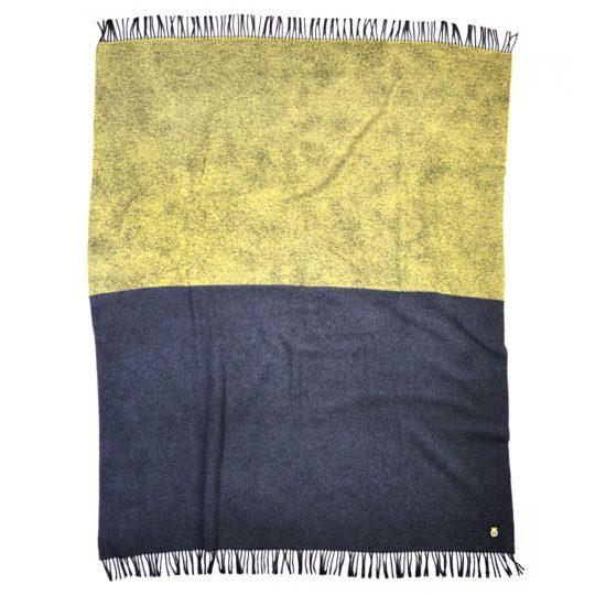 zoeppritz Half Decke, Farbe gelb anthrazit, Material Schurwolle Cashmere in Groesse 135x190