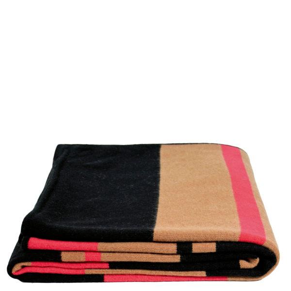zoeppritz Edition 15/03 Decke, Farbe rot braun schwarz gestreift, Material Cashmere in Groesse 150x200
