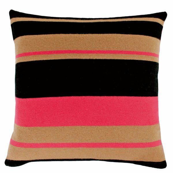 zoeppritz Edition 15/04 Kissenhuelle, Farbe rot braun schwarz gestreift, Material Cashmere in Groesse 50x50