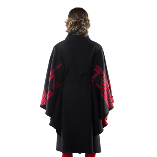 zoeppritz The Heroine Mantel, Farbe rot schwarz, Material Merino-Cashmere Mix, Groesse S
