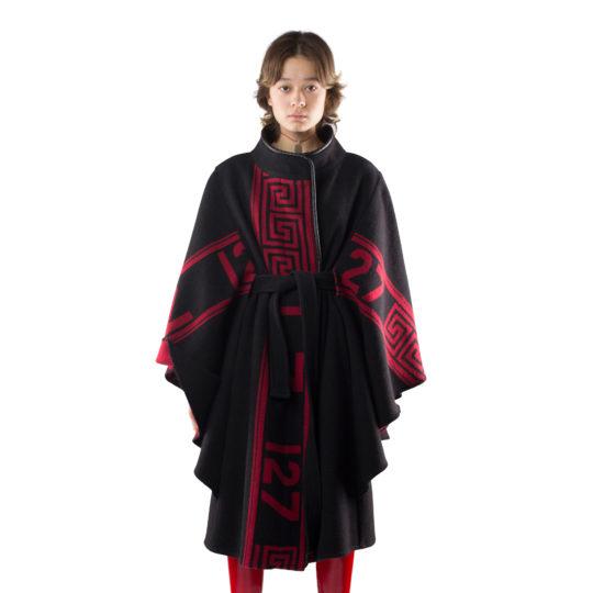 zoeppritz The Heroine Mantel, Farbe rot schwarz, Material Merino-Cashmere Mix, Groesse XS