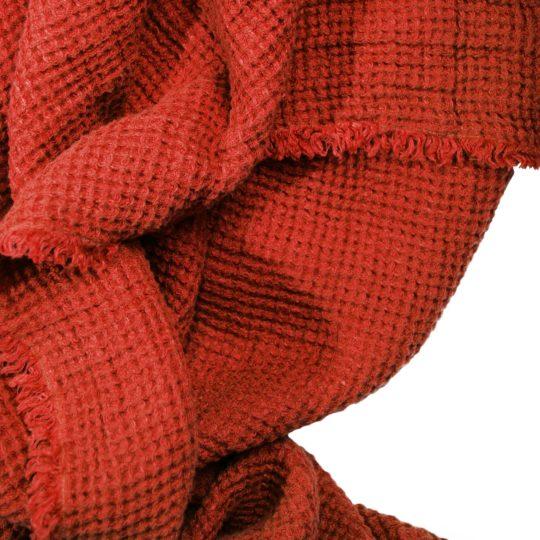 Zoeppritz Leinen Plaid Honeybee, orange, Material Leinen in Groesse 170x230