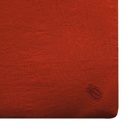 Zoeppritz Leinen Spannbettlaken Stay, orange, Material Leinen in Groesse 100x200x20
