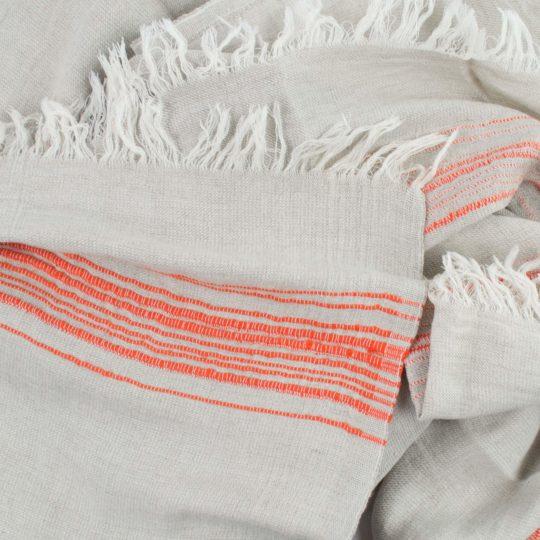 Hamamtuch, Stripy, Material Leinen Baumwolle, orange